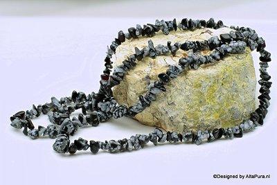 90cm  Mooie Sneeuwvlok obsidiaan   split collier  K434