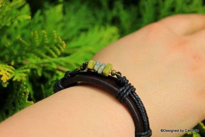 Mooi leren armband met Zuiverende Lizardiet A2221