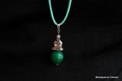 Bhudda Amulet  met mooie Groen Agaat C678