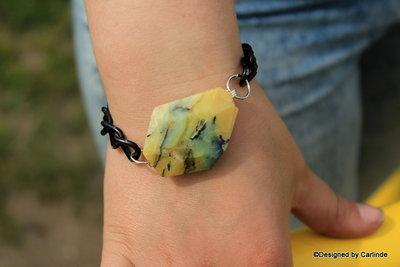 Schakel Armband met Citroen gele  Agaat A2209