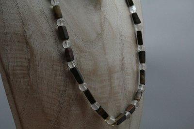 C613 collier van Afrikaanse Tijgeroog met bergkristal