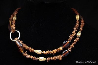 Top Design Collier van Earth jaspis met rookkwarts C101