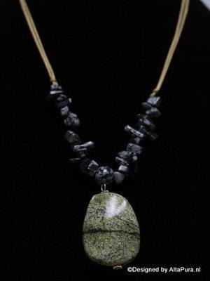 Schitterend Collier van Australische Sneeuwvlok obsidiaan met groene Jaspis C251