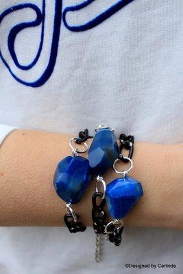 Chroom Armband met mooie grote Blauw  Agaat A1396