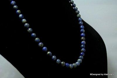 8 mm Kralen Lapis Lazuli collier ca 60-65 kralen lengte ca 60 cm C2078