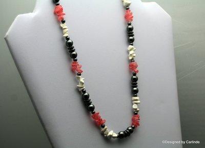Mooi Collier van Rode Aardbeienquarz, Hematiet, Magnesiet  C426