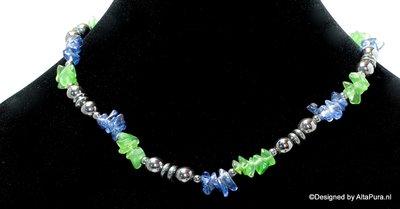 Mooi easydesign collier van 8 mm hematiet, heldere Groen en Blauw agaat  C420