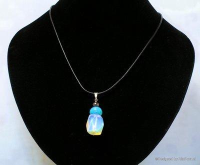 Mooie easydesign  van geslepen Opaline met Turkoois en hematiet C415