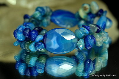 Schitterend Armband met  Blauw agaat A1060