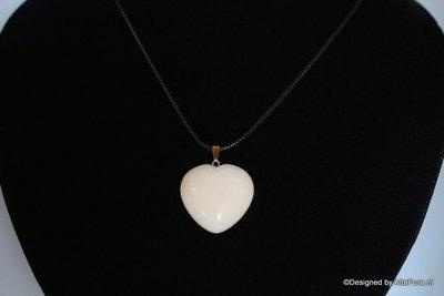 Rozenkwarts hanger is de steen van het hart incl Gratis leren Koordje C497