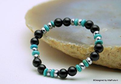 Mooie  Armband van Geslepen Obsidiaan, Turquereniet  met Hematiet A1344