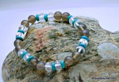Chique facet geslepen armband van Bergkristal, Turquereniet en Zilveragaat A1347_328