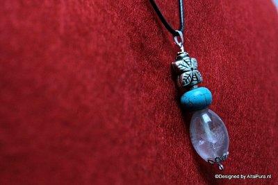 Beschermende  Amethyst met Turquereniet Talisman, incl leren halskoord (ca 49 cm)  C536
