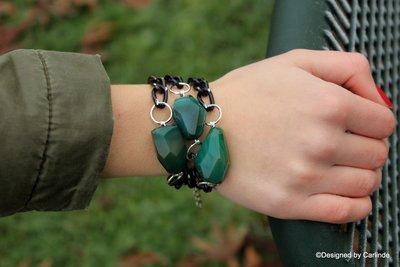 Chroom Armband met mooie grote Groen Agaat A1356