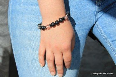 Mooi Armband met Bergkristal en gematteerde Obsidiaan A2160