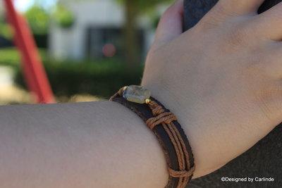 Mooi leren armband met Zuiverende Goudquarz A1393