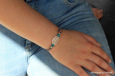 Mooi Armband met Bergkristal en gematteerde Turqueniet  A2213