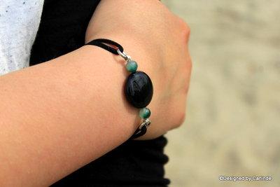 Mooi Armband met Beschermende Obsidiaan A2223