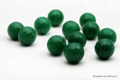 Exclusieve 10 Grote  gefaccetteerde groene Aventurijn Kralen K507