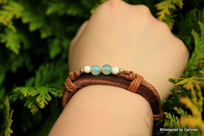 Mooi leren armband met Zuiverende Agaat A2212
