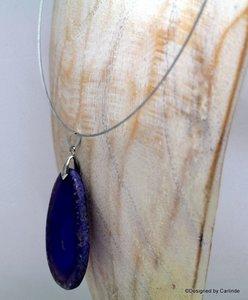Chroom stalen Choker met mooie grote Purple banded  Agaat C370
