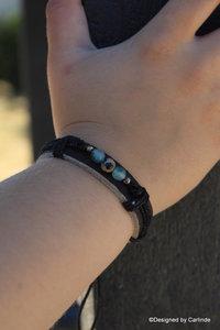 Chique leren Armband beschermende dalmatier Jaspis A2247