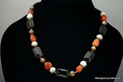 Indian style multi stone geknoopt Collier C590