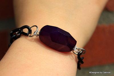 Schakel Armband met Donkere Purple Agaat A2226