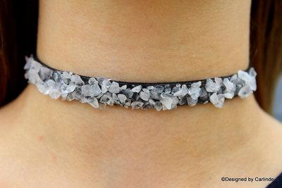 Ellegance Choker Bergkristal & Tourmalijnqaurz C601